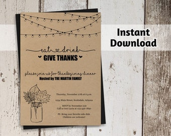 Printable Thanksgiving Invitation Template - Rustic Thanksgiving Dinner Invitation on Kraft Paper - Instant Download Digital File PDF