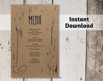 Printable Wedding Menu Template - Rustic Tree / Wood Carved Hearts & Initials on Kraft Paper   DIY PDF Instant Download Digital File
