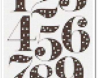 Numbers Cross Stitch Pattern, Numbers Home decor x stitch pattern, Cross stitch Embroidery, Embroidery pattern