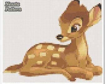 Bambi deer Cross Stitch Pattern, Bambi Reindeer x stitch pattern, Cross stitch Embroidery, Embroidery pattern