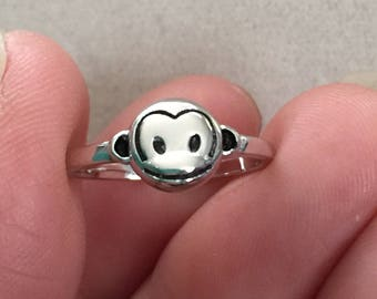 Monkey sterling silver adjustable ring