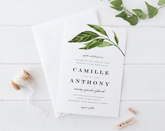 Printable Green Leaves Wedding Invitation Set, Printable Green Leaves Wedding Invitation Set, Simple Leaves Wedding Invitation Set