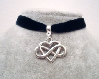 Necklace - Choker - Heart Choker - Infinity  Heart Choker Necklace  - Love Friendship Choker - Red Black White Choker -
