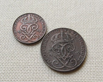 20% Off Sale 1949 Swedish Coins, Øre Coins, Swedish Money, Coins from Sweden, 2 Øre, 5 Øre, Coins for Jewelry, World Coin