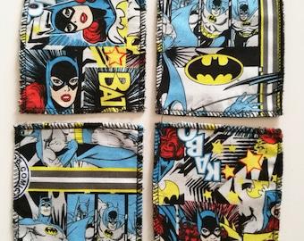 Cotton patterned coasters Batman and Batgirl
