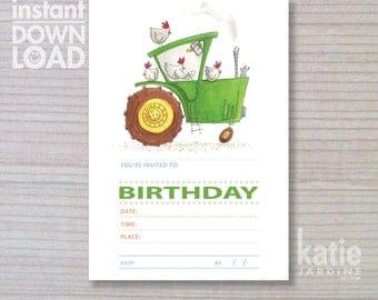 instant invitation - farm invitation - boys invitation - green tractor - childrens invitation  - chickens