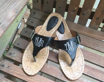 Personalized Monogrammed Women's sandals, Personalized monogrammed flip flops, Summer Sandals, brown sandals , black sandals