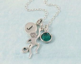 Sterling Silver Monkey Necklace, Personalized Monkey Charm Necklace, Monkey Jewelry, Tiny Monkey, Birthstone Necklace, Customize