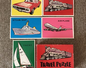 Vintage Otagiri Japan Travel Vehicles Jigsaw Puzzles for Preschoolers boxed set, 5 puzzles, Train, Plane,