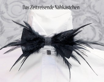 Bow tie with feather trim - Party, Gothic, Wedding