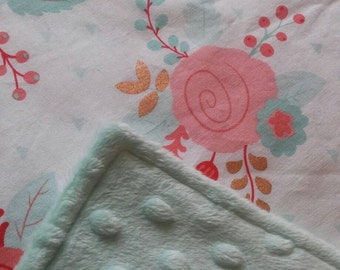 Floral Baby Blanket / Crib Quilt  / Modern Crib bedding - Baby Girl - Baby Shower Gift - Minky - Coral Mint Gold - Ready to ship!