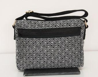 Fair trade- monochrome messenger bag,black and white bag,everyday carry casual bag,travel bag,silver thread,cross the body medium size bag