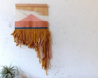 Triangle Landscape Wall Hanging   Weaving   Tapestry   Tissage Mural   Wandbehang   Handmade OOAK