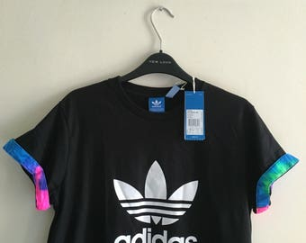 Unisex Authentic Adidas Originals Custom Cut & Sew Neon Tie dye Cuff Tee XS-XXL