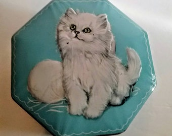 Kitten Confectionery Tin Vintage Fillerys Fruit Drops Made in England Gift Box White Kitten Candy Tin