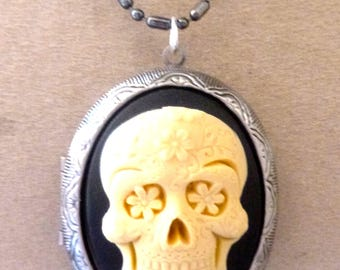 Locket is Mexican death's head skull cameo photo