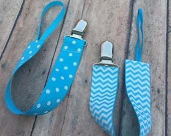 Turquoise Paci Clip - Pacifier Clip - Baby Boy Pacifier Clip - Paci Clip - Binky Holder - Ribbon Paci Holder - Binky Clip - Pattern Options