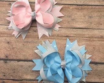 Pink and Gray - Hair Bow - Hair Bow - Pink and gray Bow - Light blue and gray bow - Girls Hair Bow - Toddler Hair Bow - Hair clip - Boutique