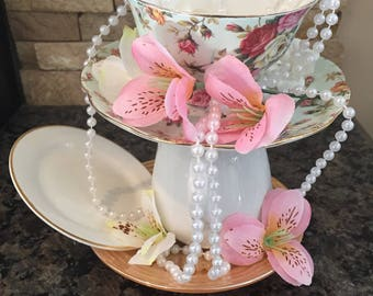 Teacup Tea Party Centerpiece/ Mad Hatter / Alice in Wonderland
