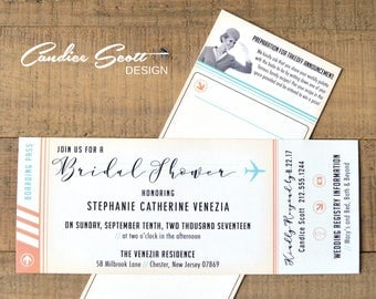 travel bridal shower invitation  etsy, Bridal shower invitations