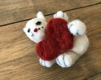 Handmade Felted Wool Cat With A Heart