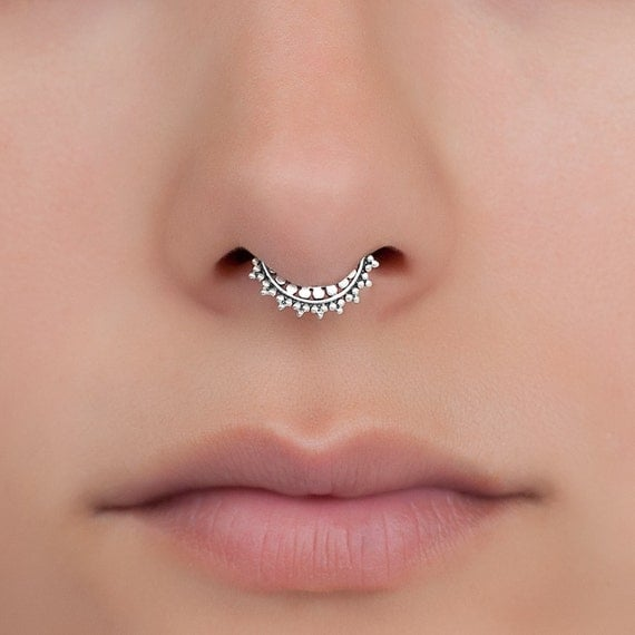 Fake Sterling Silver Septum Ring. Tiny fake septum jewelry.