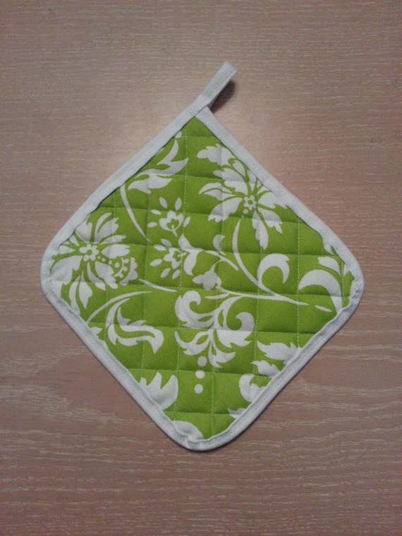 """Handmade """"Lime w/ White Flowers"""" Potholders"""