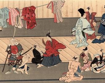 "1923, Japanese vintage Woodblock print, antique, Hishikawa Moronobu ""Kabuki"""