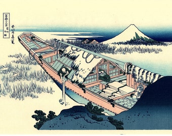 "Japanese Ukiyo-e Woodblock print, Katsushika Hokusai, ""Ushibori in Hitachi Province, Thirty-six Views of Mount Fuji"""