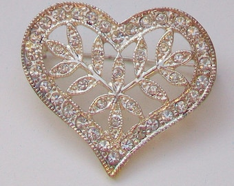 Sparkling Diamantes Heart in Silver Tone Bar Brooch