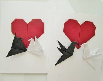 2 Handmade Origami Cards. Love Birds.Valentine's Day.Engagement.Wedding.Origami Heart.Couple.Origami Bird.Set of2 Cards and Envelopes.