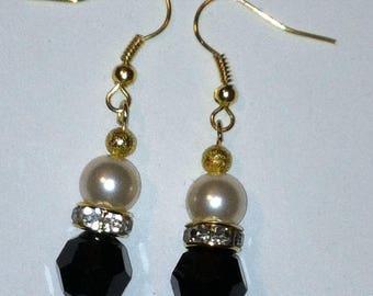 Black Swarovski Crystal and Cream Swarovski Pearl handmade drop/dangle earrings