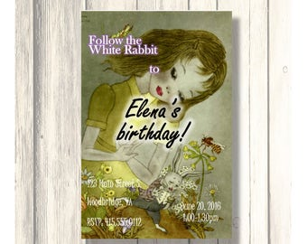Follow the White Rabbit Alice Birthday Invitation/Card Customizable - Printable Digital Download
