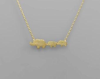 Elephant Mom & 2 Babies Charm Necklace