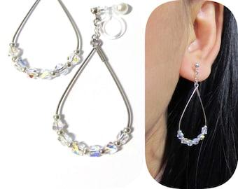 Swarovski AB Rhinestone clip-on earrings  9E  Invisible clip on dangle earrings Non Pierced Bridal Comfortable Wedding clip on Hoop Earrings