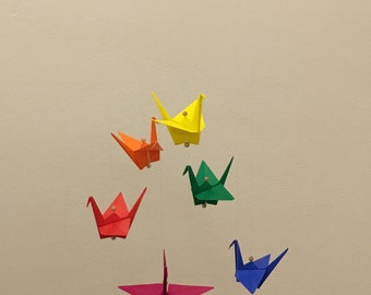 Origami mobile - cranes in Rainbow colors