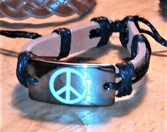 leather and metal peace symbol bracelet
