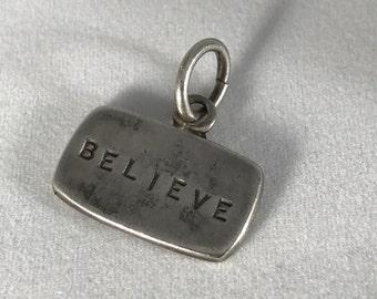"""Sterling Silver """"Believe"""" Pendant"""