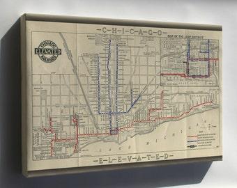 Canvas 24x36; 1915 Chicago L Map