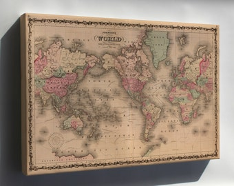 Canvas 24x36; Johnsons World Map 1862 P2
