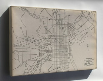 Canvas 16x24; 1911 Philly Streetcar Map 01