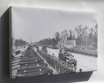 Canvas 16x24; Sir Winston Churchill Passes The Paradecanadian Contingent During The British Victory Parade In Berlin, Germany