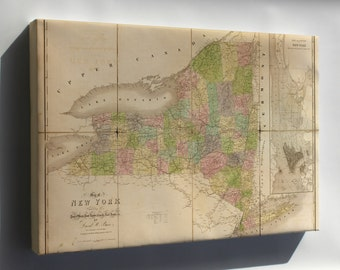 Canvas 16x24; Map Of New York State 1839