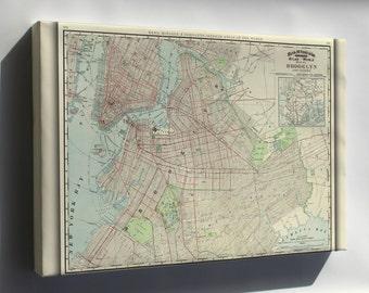 Canvas 16x24; Brooklyn Map 1897 Brooklyn Map