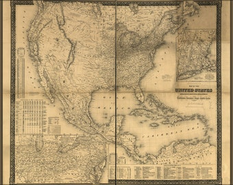 16x24 Poster; Map Of The United States, Canada, Mexico, Central America, 1861