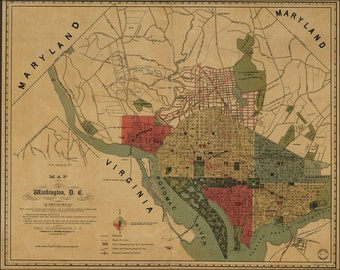16x24 Poster; Map Of Washington, D.C., And Environs 1887