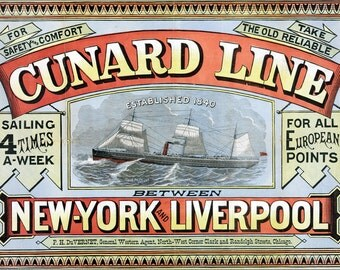 16x24 Poster; Cunard Line Sailing Ad, New York City And Liverpool 1875