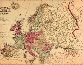 16x24 Poster; Topographical Map Of Europe 1871