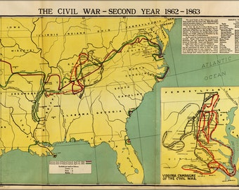 16x24 Poster; Map Of Civil War Second Year
