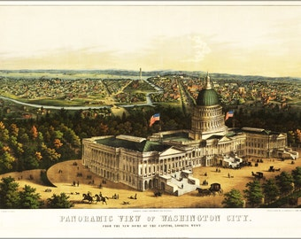 16x24 Poster; Panoramic View Map Of Washington D.C.  Looking West  1856